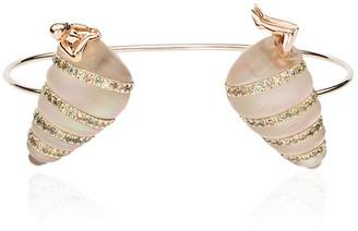 Bibi Van Der Velden 18kt White and Rose Gold pearl shell diamond and sapphire bangle