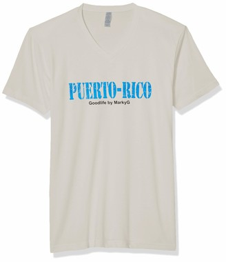 Marky G Apparel Men's Puerto Rico Graphic Sueded V-Neck T-Shirt