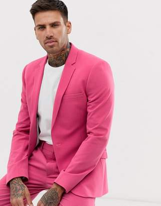 Asos Design DESIGN super skinny suit jacket in raspberry pink