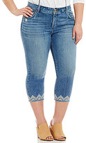 Lucky Brand Plus Emma Crop Lace Embroidered Jeans