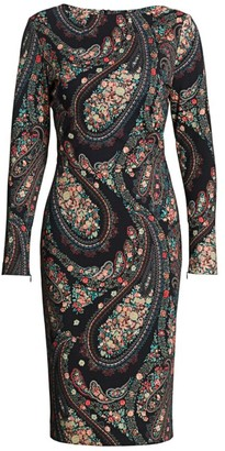Etro Floral Paisley Jersey Midi Dress