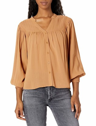 ASTR the Label Women's Piper V-Neck Long Sleeve Button Front Top