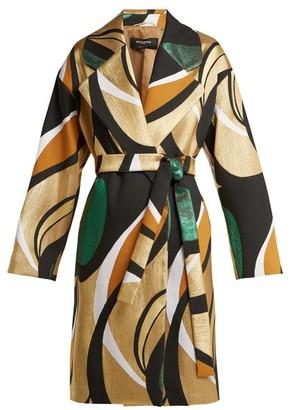 Rochas Metallic-jacquard Belted Coat - Gold Multi