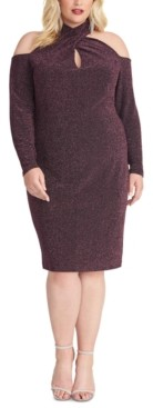 Rachel Roy Trendy Plus Size Sparkle-Knit Halter Dress