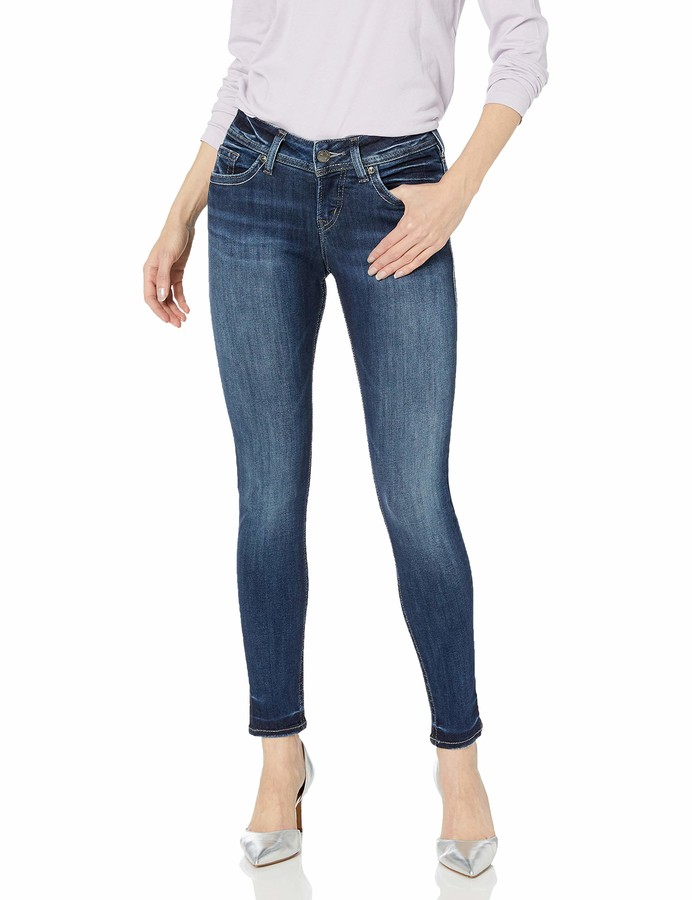 Silver Jeans Co. Women's Suki Curvy Fit Mid Rise Super Skinny Jeans