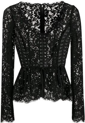 Dolce & Gabbana Floral Lace Corset Style Blouse