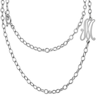 Jane Basch Silver A-Z Convertible Toggle Initial Necklace