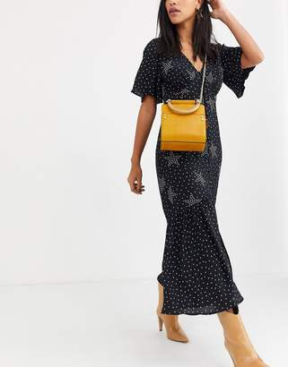 Topshop across body bag with resin handle in mustard-Yellow
