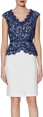 Gina Bacconi Audrey Lace Peplum Dress