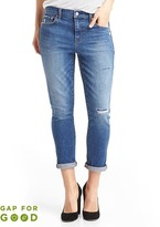 Gap Washwell mid rise destructed best girlfriend jeans