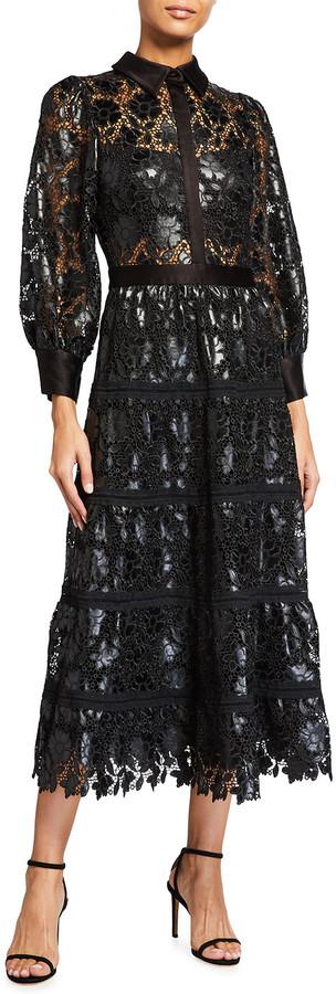 Alice + Olivia Anaya Collared Lace Midi Dress