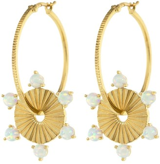 Foundrae 18kt yellow gold large opal Element disk hoops