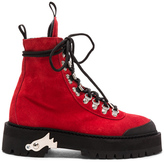 Off-White for FWRD Suede Hiking Boots in Red.