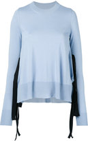 MM6 MAISON MARGIELA lace up detail sweater - women - Viscose/Wool - S