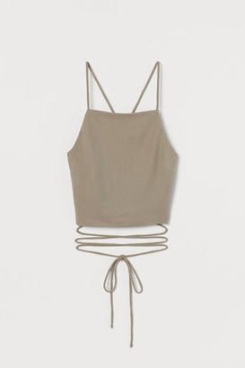 H&M Open-back Camisole Top - Beige