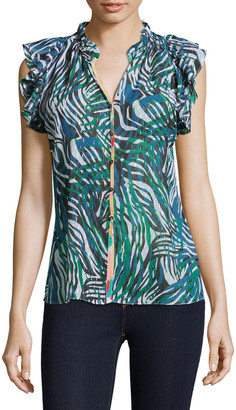 Robert Graham Thelma Zebra Print Sleeveless Frill Shirt