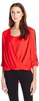 Anne Klein Women's Roll Sleeve Drape Blouse