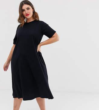 Asos DESIGN Curve super oversize midi swing t-shirt dress-Black