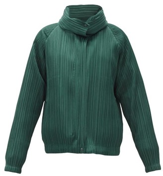 Pleats Please Issey Miyake Detachable-layer Padded Technical-pleated Jacket - Dark Green