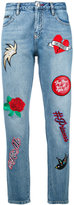 Philipp Plein embroidered cropped jeans - women - Cotton/Polyester - 25