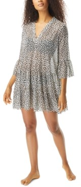 CoCo Reef Leopard Print Swim Cover-Up Dress Women's Swimsuit