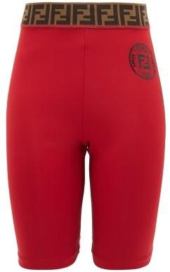 Fendi Ff-jacquard Stretch-jersey Bike Shorts - Womens - Red
