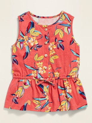 Old Navy Sleeveless Peplum-Hem Button-Front Top for Toddler Girls