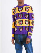 Gucci Angry Cat Striped Wool Jumper