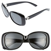 Polaroid Women's 55Mm Polarized Butterfly Sunglasses - Black