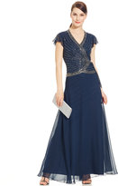 J Kara Flutter-Sleeve Embellished Side-Tie Gown