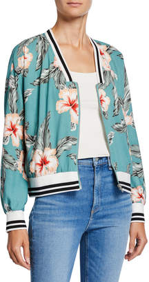 Cupcakes And Cashmere Hibiscus-Print Bomber Jacket