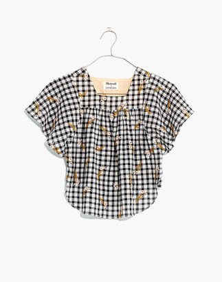 Madewell x crewcuts Embroidered Gingham Butterfly Top