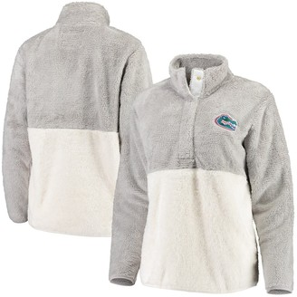 Women's Gray/White Florida Gators Fuzzy Fleece Colorblocked Four-Snap Pullover Jacket