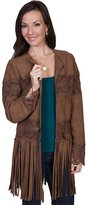Scully Western Jacket Womens Leather Fringe Tie XL Brown L124