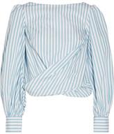 Johanna Ortiz - Bahia Open-back Striped Cotton-poplin Wrap Top - Sky blue