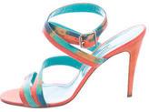 Manolo Blahnik Lizard Multistrap Sandals