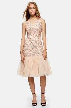 Lace & Beads Womens **Blush Pink Sellah Midi Dress By Blush
