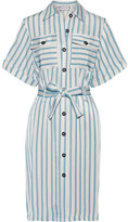 Paul & Joe Belted Striped Satin-twill Dress - Light gray