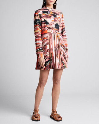 Cédric Charlier Abstract-Print Pleated Shirtdress