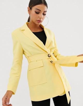 Asos Design DESIGN lemon self belted blazer