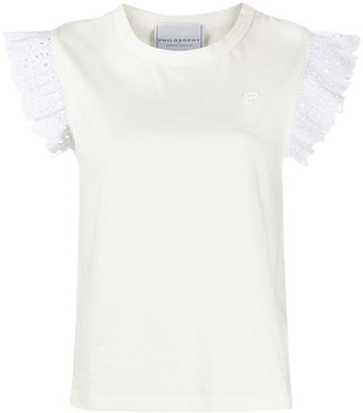 Philosophy di Lorenzo Serafini ruffle sleeve logo embroidered T-shirt