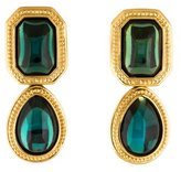 Saint Laurent Green Glass Cabochon Drop Earrings