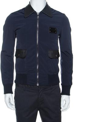 Dolce & Gabbana Navy Blue Leather Trim Bomber Jacket XS