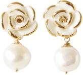 Golden White Cloud Rose Pearl Drop Earrings