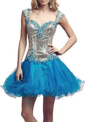 Mac Duggal Sequin Tulle Skater Dress
