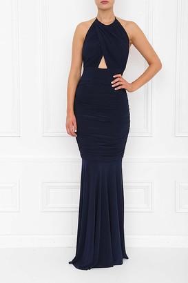 Honor Gold Erin Navy Fishtail Maxi Dress