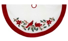 Kurt Adler 48-Inch Velvet Red and White with Cardinals Applique Tree skirt