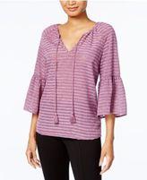 Kensie Striped Ruffled-Sleeve Top
