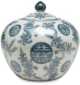AA Importing 8 Bazille Round Jar, Blue/White