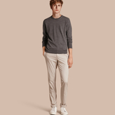 Burberry Stretch Cotton Trousers , Size: 48, Beige